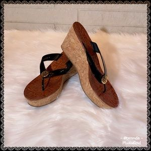 TORY BURCH Thora Cork Platform Wedge Thong Sandals